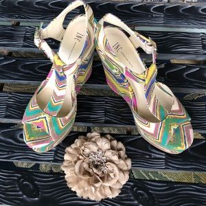 INC Platform T-strap Wedge Sandal